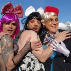 Drag queens (l-r) Jaco Uys, David Williams and Scott Paterson say no women were harmed in the...