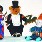 Dressed in their glad rags, Playschool toys Manu, Big Ted and Jemima party off-screen. Photo by...