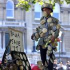 Dunedin artist Simon Kaan at the 'paua to the people' protest yesterday in the Octagon. Photos by...