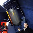 Dunedin Astronomical Society president Peter Jaquiery with a $34,000 telescope and mount...