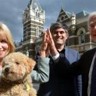 Dunedin barrister and courthouse advocate Anne Stevens (left) and her dog Louie celebrate...