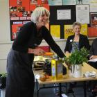 Dunedin chef and food writer Judith Cullen demonstrates a healthy recipe to canteen staff in...