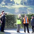 Dunedin City Councillors talk to Normanby residents about safety concerns on Clava St. From left,...