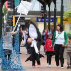 Dunedin dolphin campaigner Gemma McGrath (left) and Australian presenter Ashleigh Young raise...