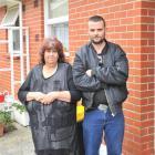 Dunedin grandmother Ellen Pensom and son Damien outside her  flat yesterday. Photo by Linda...