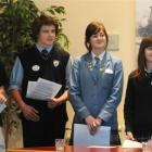 Dunedin high school pupils (from left) Elizabeth Rudd (16), of Otago Girls High School, Joel...