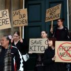 Dunedin Hospital kitchen workers rally outside the Dunedin Municipal Chambers before a health...