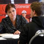 Dunedin job hunter Jamie VanToor  talks to Calder Stewart human resources adviser Karen Bilbie at...