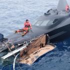 Dunedin man Brad Latimer on board the sinking Ady Gill last January.