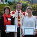Dunedin Mayor Dave Cull congratulates his fellow University of Otago Council member Prof Harlene...