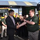Dunedin Mayor Dave Cull (left) hands the keys to the new rural fire appliance to Wakari Volunteer...