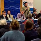 Dunedin mayoral candidate Andrew Whiley addresses the crowd at yesterday's 2013 Dunedin Mayoral...