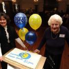 Dunedin Operatic Society president Lynda Wright-Sear (left) and longest serving member Evelyne...