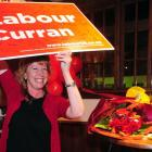 Dunedin South MP Clare Curran celebrates her win at Robbies Bar and Bistro, South Dunedin, on...