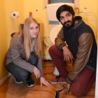 Dunedin students Larissa Coetzee and Manojan Thavaraja show a hole in the bathroom floor of their...