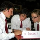 Dunstan High School pupils (from left) Ged Finch (15), Cole Mackie (14) and Tegan McKenzie (14)...