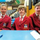 Dunstan High School pupils India O'Donnell-Fluit (13), Harry Johnston (13) and James Moore (14)...