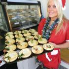 Eat Humble Pie assistant baker Sam Scanlan unveils the first tray of piping hot Christmas pies...