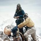 Edmund Hillary and an unnamed climber on Mt Everest during the successful 1953 expedition.