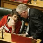 Finance Minister Michael Cullen talks with Helen Clark.