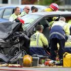 Emergency services attend a serious crash in Ngongotaha this afternoon Photo: Rotorua Daily Post