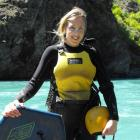 Emily Cournane, of Queenstown, at the Kawarau River in preparation for her attempt to riverboard...