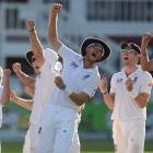 England players celebrate the dismissal of South Africa's Jacques Kallis during the third test at...