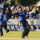 England's Jonny Bairstow after hitting the winning runs. Photo by Reuters