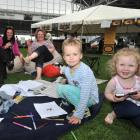 Enjoying the Otago Food, Wine and Music Festival on Saturday are (from left) Jen Paris, Ros...