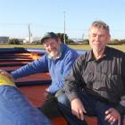 Environment Southland biosecurity manager Richard Boman (left) and John Booth with the inflatable...