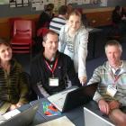 Eva Liardet (12), of Oamaru Intermediate School, shows (from left) Jules Clunie (Mosgiel), Bevan...