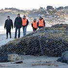 Examining storm damage on Dunedin's Middle Beach are ...