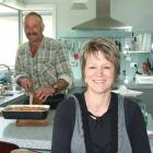 Farmer's wife Nellie McNab in the kitchen of her Lochindorb farm house yesterday with husband...