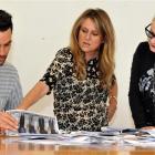 Fashion designer Des Rusk,  of Auckland, and Dunedin fashion designers Tanya Carlson (centre) and...