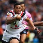 Feleti Mateo of the Warriors makes a run against the Bulldogs during their NRL match at Mt Smart...
