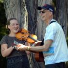 Festival-goers at Whare Flat:  Flora Knight and John Dodd, at the 2014/2015 festival. Photo:...