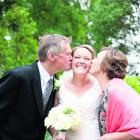 Fiona Murray and her parents at Wairarapa wedding to Andrew White. REBECCA MCSKIMMING PHOTOGRAPHY.