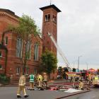 Fire crews were called to the First Presbyterian Church about 5.40am. Photo: Allison Beckham