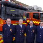 Fire Service 25-year Gold Star recipients (from left) SFF Peter Hessian, SO Mark Dyer, SO Brent...
