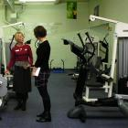 Fitness professional Tania Grave (left) and Ellie Constantine discuss health and fitness options.