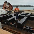 Fitter and turner Robert Butcher, of Action Engineering, works on the new slipway cradle for Port...