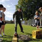 Flight Lieutenant Brendan Walker demonstrates during a leadership skills exercise with Otago...