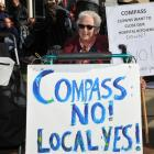 Florence Wilson (86), of Dunedin, shows her support at the Octagon protest against the proposed...