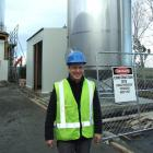 Fonterra Stirling site manager Mark Leith with the chilled-water treatment plant water tank which...