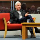 Former Christchurch dean and present city councillor Peter Beck talks during an interview at the...