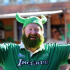 Former Cork, Ireland, resident Joe Potter, of Dunedin, celebrates St Patrick's Day in the Octagon...
