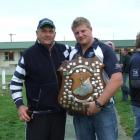 Former Heriot Rugby Club captain Jim Findlay (1978-79) and Heriot captain Blair Young celebrate...