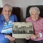 Former Kingsland Biscuit Factory workers Meryle (Gloria) Colvin (left) and Glad Munro reminisce...