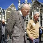 Former Otago Boys High School pupils Rodney Eastgate (middle, 1929-33) and John Manning (1928-32)...