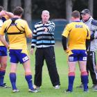 Former Otago prop Steve Cumberland (centre) with Highlanders scrum coach Mike Cron (second from...